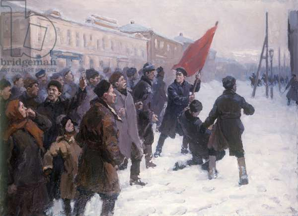 Demonstration of Workers in Tomsk on January 18, 1905 under the Direction of S. Kirov, 1955 (oil on canvas)