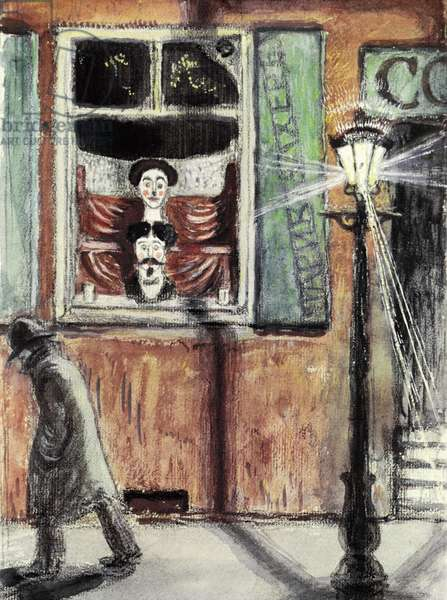 The Hairdresser's Window (gouache on paper)