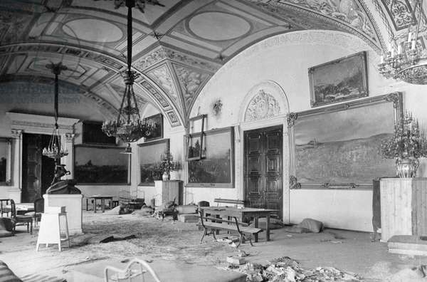 The Winter Palace the day after seizure, 1917 (b/w photo)