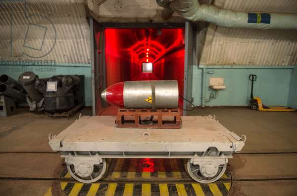 Nuclear payload on a trolley in a tunnel of the nuclear arsenal loading area at the Balaklava Naval Museum (submarine museum) in the Crimea, 2014 (photo)