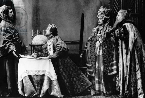 """Ivan Moskvin (second from left) as Fyodor Ioannovich and Olga Knipper-Chekhova as Irina (second from right) in Alexei Tolstoy's play """"Tsar Fyodor Ioannovich"""" staged by Konstantin Stanislavsky, Moscow Art Theatre, 1898 (b/w photo)"""