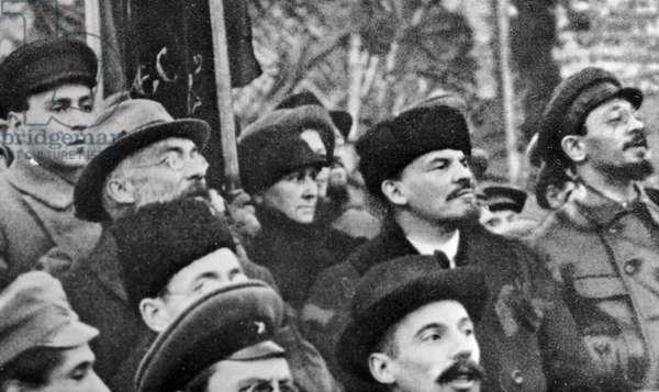 Lenin and Sverdlov at a demonstration, 1918 (b/w photo)