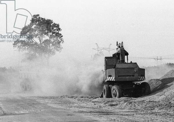 Road machinery engaged in Chernobyl disaster consequences liquidation activities, 1986 (photo)