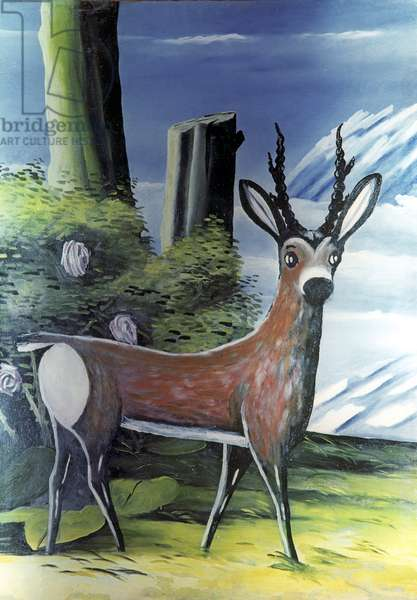 Deer, 1900 (oil on rubber sheet)