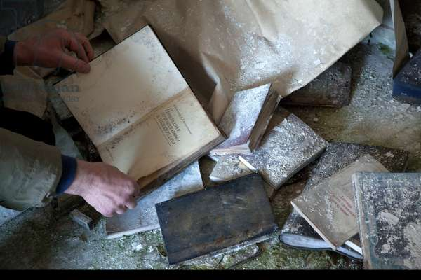 Books in a house in Pripyat abandoned after the explosion at the Chernobyl Nuclear Power Plant, 2011 (photo)