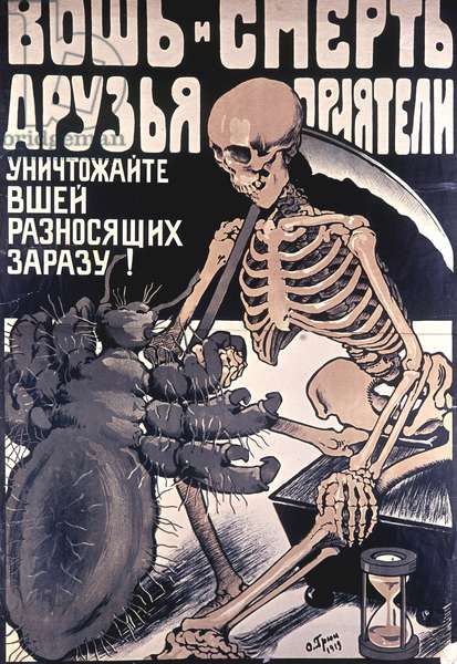 Louse and Death - Friends, Buddies' Poster, Moscow, 1919 (litho)