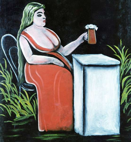 A Woman with a Mug of Beer