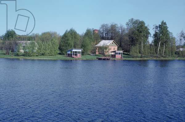 View of the Composers' House on the bank of the Talka River, Ivanovo Region, Russia, 1971 (photo)