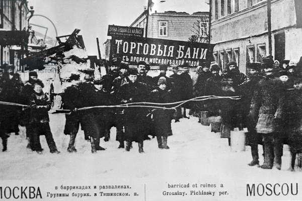 Barricades in Moscow,1905 (b/w photo)