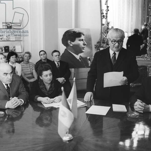 Writer Irakly Andronnikov (right) at a commemorative event dedicated to a Romanian composer George Enescu, 1972 (b/w photo)