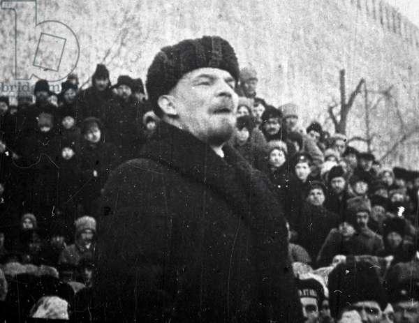 Lenin speaking during Sverdlov's funeral , 1919 (b/w photo)