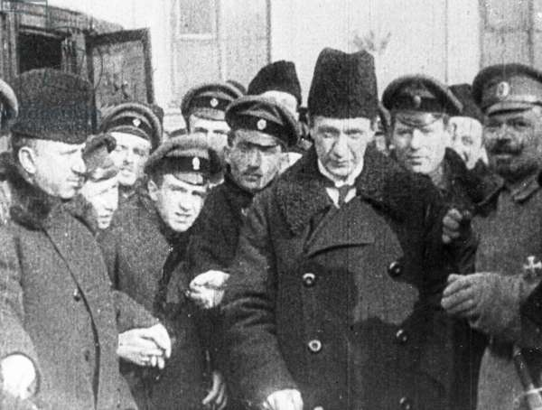 Alexander Kerensky (third from right), head of the provisional government of Russia, 1st March, 1917 (b/w photo)