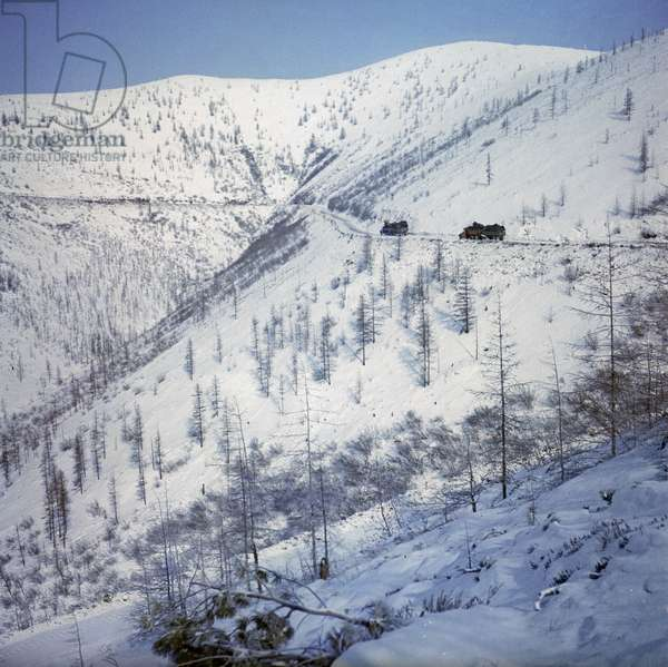 View of the Kolyma Highway, Russia, 1970 (photo)