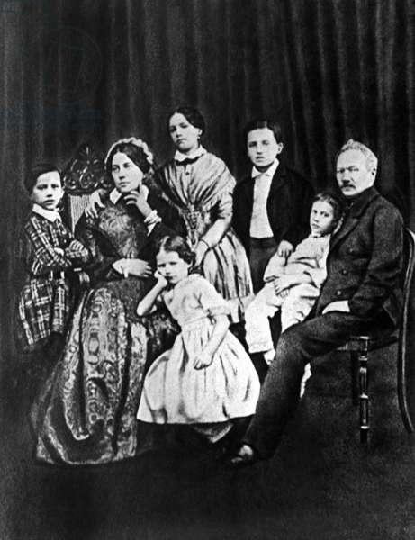 The Tchaikovsky Family in 1848 (b/w photo)