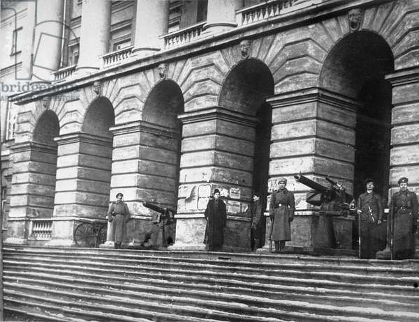 Red Guards Protect Smolny, 1917 (b/w photo)