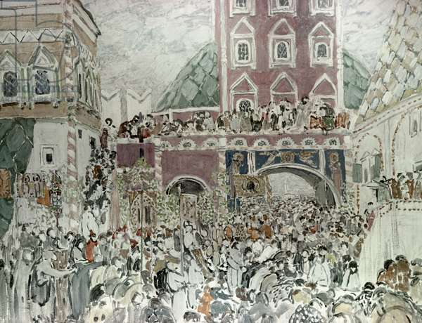 Scenery sketches for Musorgsky's opera 'Boris Godunov' depicting the Novodevichy Monastery (oil on canvas)