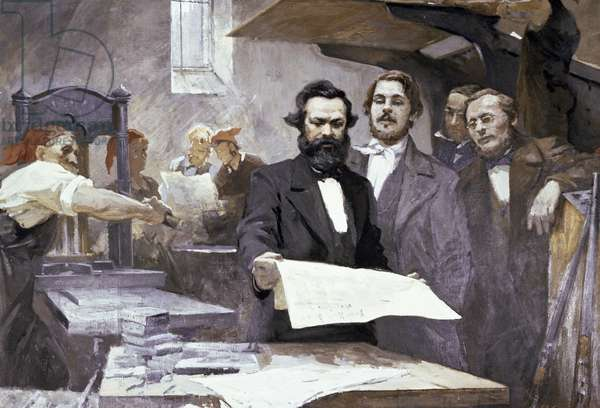 Karl Marx and Friedrich Engels in the printing house of the 'Neue Rheinische Zeitung' (w/c on paper)