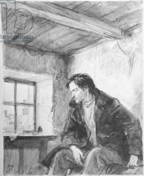 Raskolnikov, illustration from 'Crime and Punishment' by Fyodor Dostoyevsky, 1955 (wash on paper)