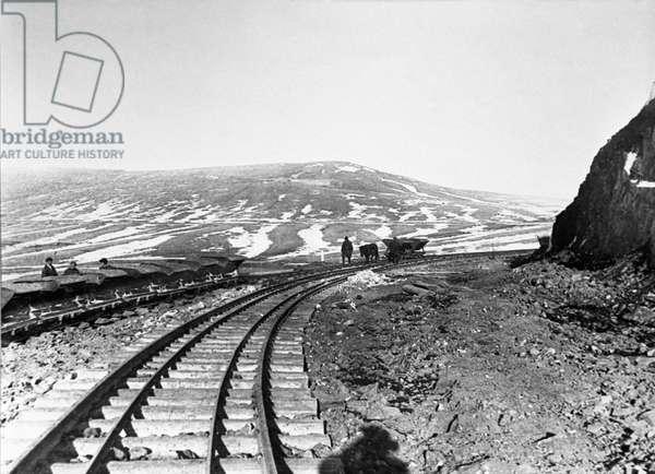 Railway construction project in Magnitogorsk, Chelyabinsk Region, Russia, 1929 (b/w photo)