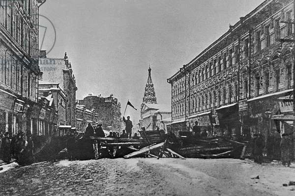 Barricades in Arbat Street, 1905 (b/w photo)