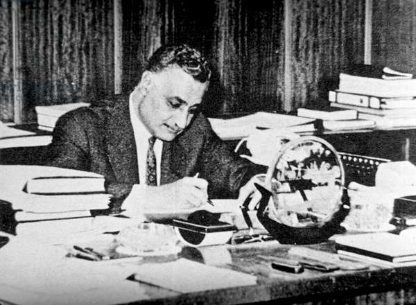 Egyptian Prime Minister Gamal Abdel Nasser. A photocopy of a photograph taken in the 1950s  (b/w photo)