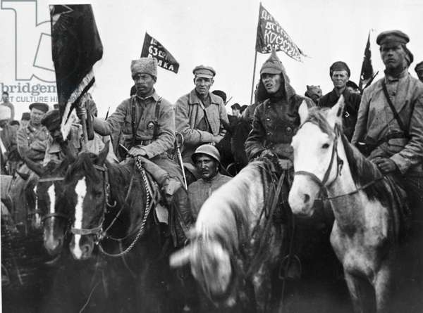 Soldiers of the 1st mounted army at a meeting, 1920 (b/w photo)