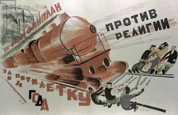 Poster 'Against Religion, For Industrial and Financial Plan. Complete Five-Year Plan In Four Years' (litho)