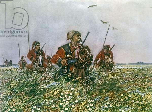 Taras on the Steppe, illustration to 'Taras Bulba' by Nikolai Vasilievich Gogol (1809-52) (colour litho)