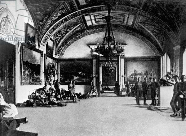 Yunkers (Cadets) in the Winter Palace, 1917 (b/w photo)