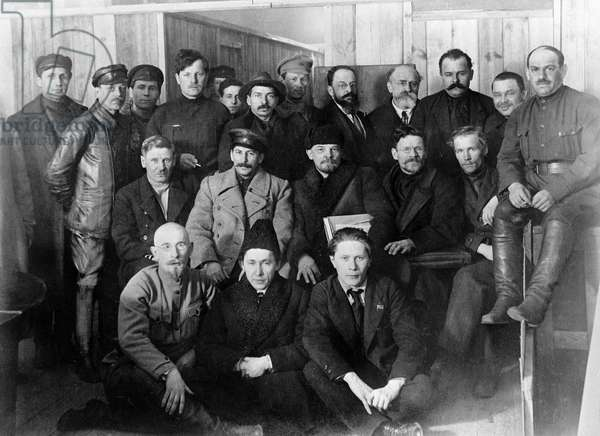 Left to right (second row centre): Josef Stalin, Vladimir Lenin and Mikhail Kalinin among deputies of the 8th Congress of the Russian Communist Party of Bolsheviks, March 1, 1919 (photo)