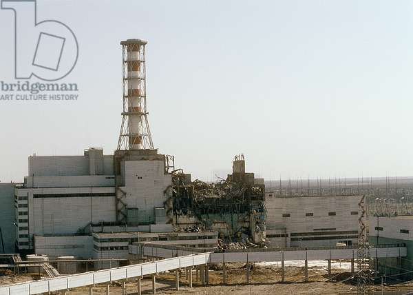 An accident happened at the Chernobyl Nuclear Power Station on April 26, 1986. The Chernobyl electricity plant as seen from the fourth power unit, 1986 (photo)