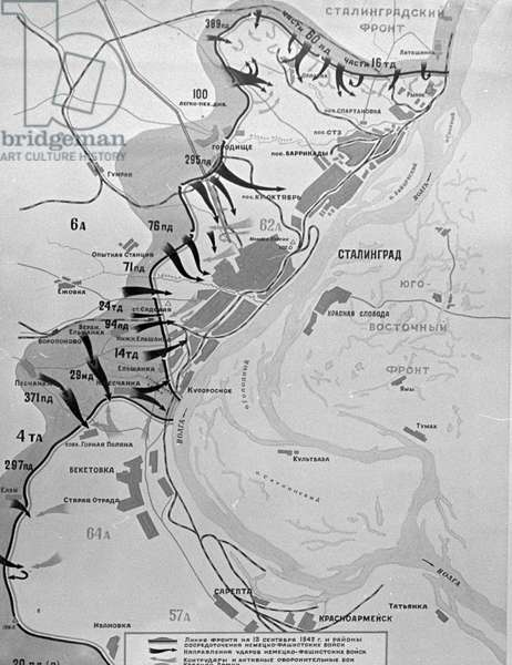 Reproduction of a diagram showing the deployment of Soviet forces near Stalingrad on September 13, 1942, during the 1941-45 Great Patriotic War against Nazi Germany, 1967 (litho)