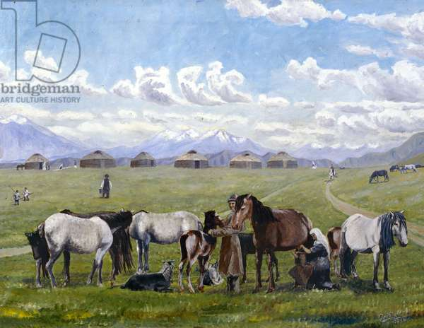 Milking of Mares, 1936 (oil on canvas)