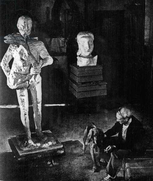 Pablo Picasso in his studio, 1971 (b/w photo)