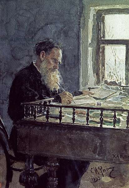 Lev Tolstoy (1828-1910) at work, 1893 (watercolour on paper)