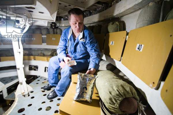 Emergency food and water rations inside the floating survival capsule of the K-535 Yuri Dolgoruky nuclear submarine, 2019 (photo)