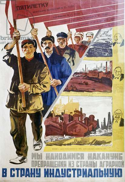 A 193Poster From the Collection of the U.S.S.R. Central Museum of Revolution. Text Above: 'Let Us Fulfill the Five-Year Plan For Oil In 2.Years, For Peat In 2.Years, For General Engineering In (litho)
