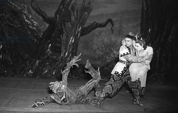 "Farid Yarullin's ballet ""Shurale"", Merited Artist of the RSFSR Maya Plisetskaya as Suimbike, Yuri Kondratov as Hunter Batyr and Vladimir Levashov as Shurale, State Academic Bolshoi Theatre of the USSR, 1955 (photo)"