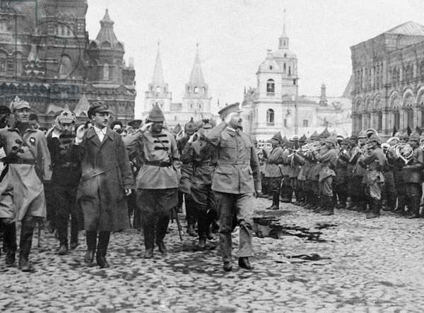 Lev Trotsky opening a military parade, 1921 (b/w photo)