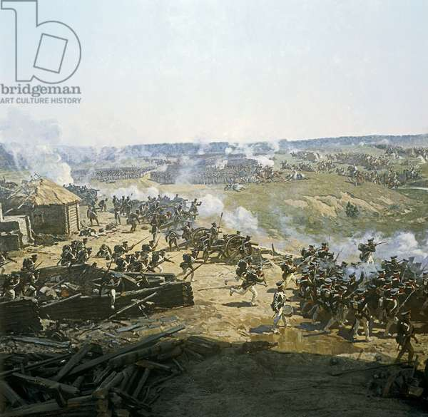 Russian artillery in position, detail from the Battle of Borodino in 1812 (colour litho) (see also 82727)