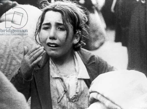 A refugee during the Spanish Civil War (b/w photo)