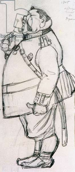 """Study for a caricature """"The Police Officer and a Snowdrop"""", 1905 (pencil on paper)"""