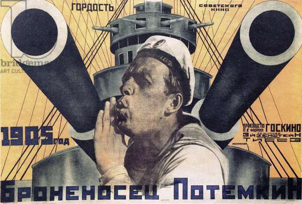 Poster Advertising A Sergei Eisenstein Film, 'The Battleship Potyomkin' at the Exhibition 'Masterpieces of Russian Poster S' at the Central House of Authors. Sergey Subbotin/Sputnik (litho)