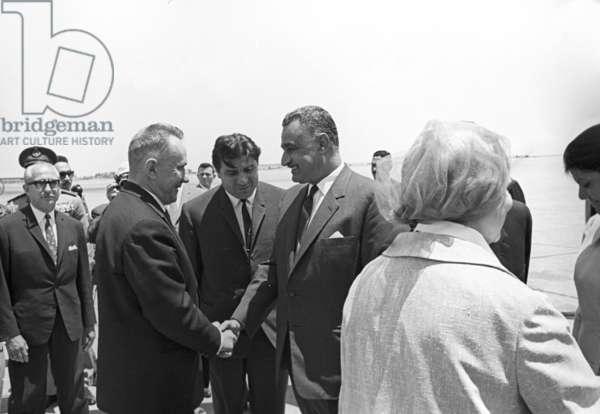 President of United Arab Republic (Efypt) Gamal Abdel Nasser (right) welcoming Chairman of the Council of Ministers of the USSR Alexei Kosygin in Cairo airport, 1966 (b/w photo)