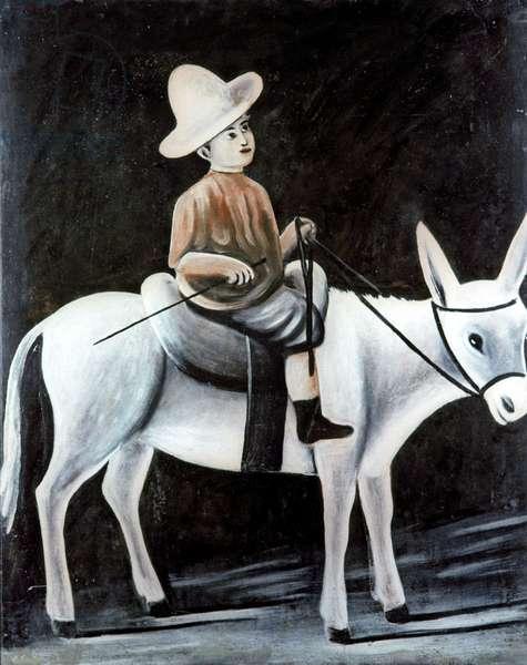 Boy on a Donkey, 1913 (oil on rubber sheet)