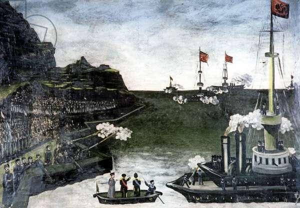 Russian-Japan War. Sea Fight, 1906 (oil on rubber sheet)