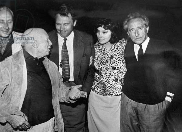 Pablo Picasso, Sergei Yutkevich, Sergei Urusevsky, Tatiana Samoilova and Jean Cocteau, 1959 (b/w photo)