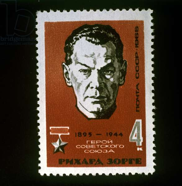 Soviet postage stamp with Richard Sorge, Hero of the Soviet Union, 1965 (colour litho)