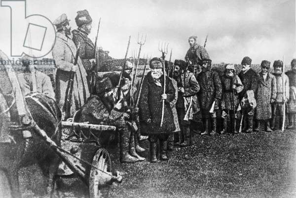 Peasant squad, 1917 (b/w photo)