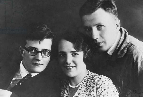 Dmitry Shostakovich, Nina Varzar and Ivan Sollertinsky, 1932 (b/w photo)